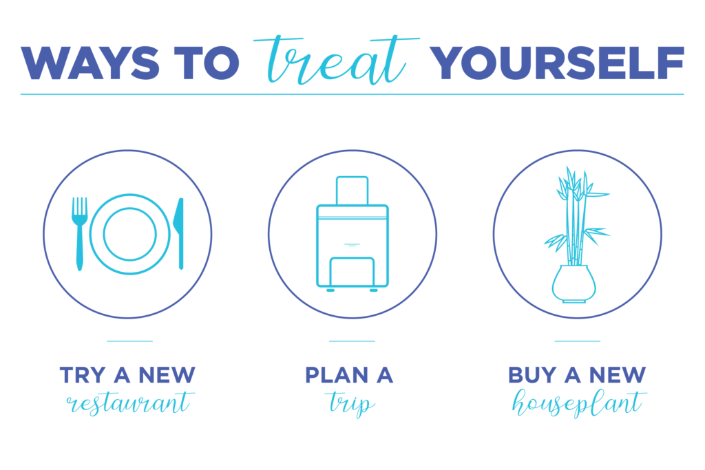How to keep your New Year's resolution by treating yourself - ways to treat yourself include trying a new restaurant, planning a trip, buying a new plant, and many more